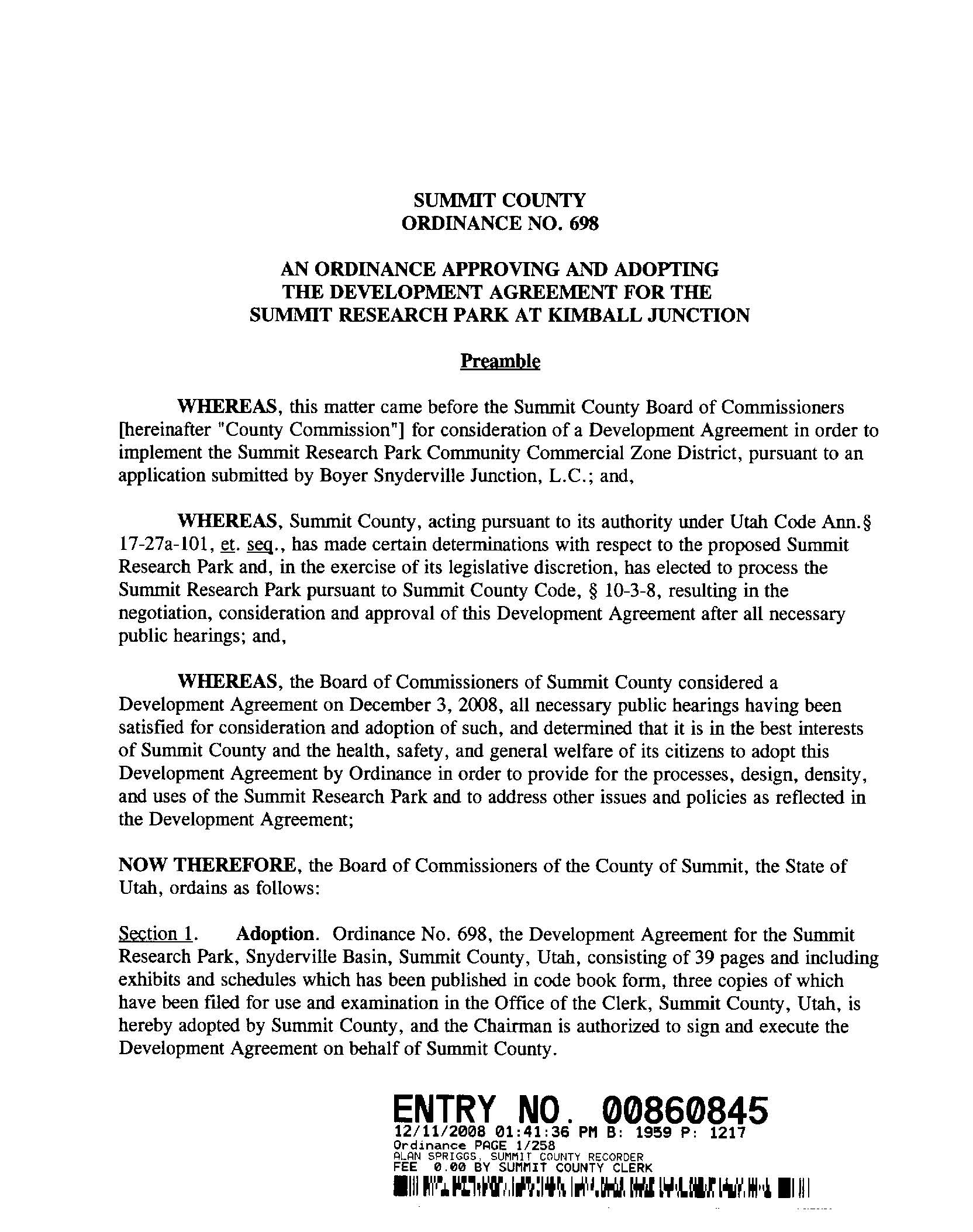 Development Agreement for Summit Research aka PC Tech 12.11.2008 pg 1