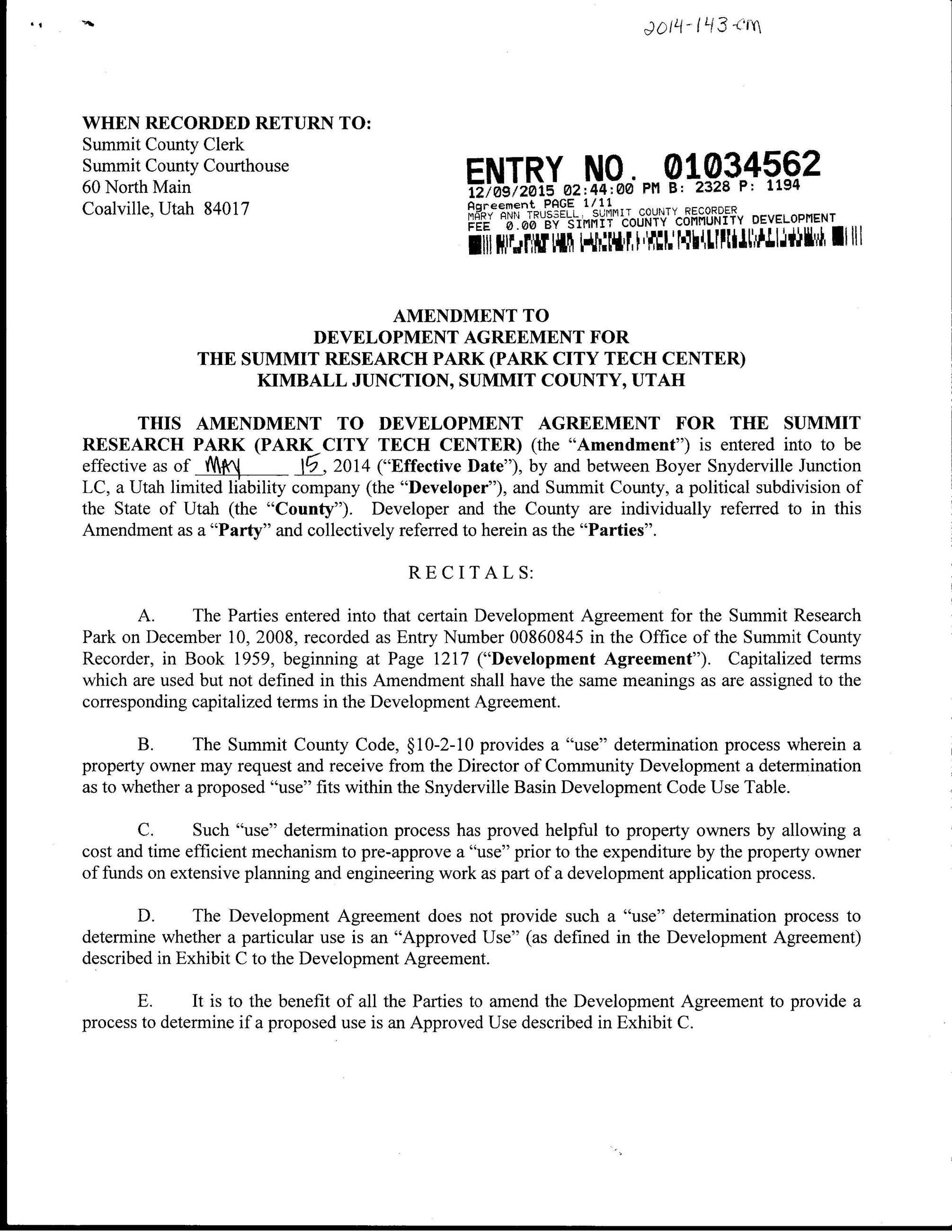 Amendment to DA for Summit Research Park aka PC Tech Center 12.9.15 pg 1