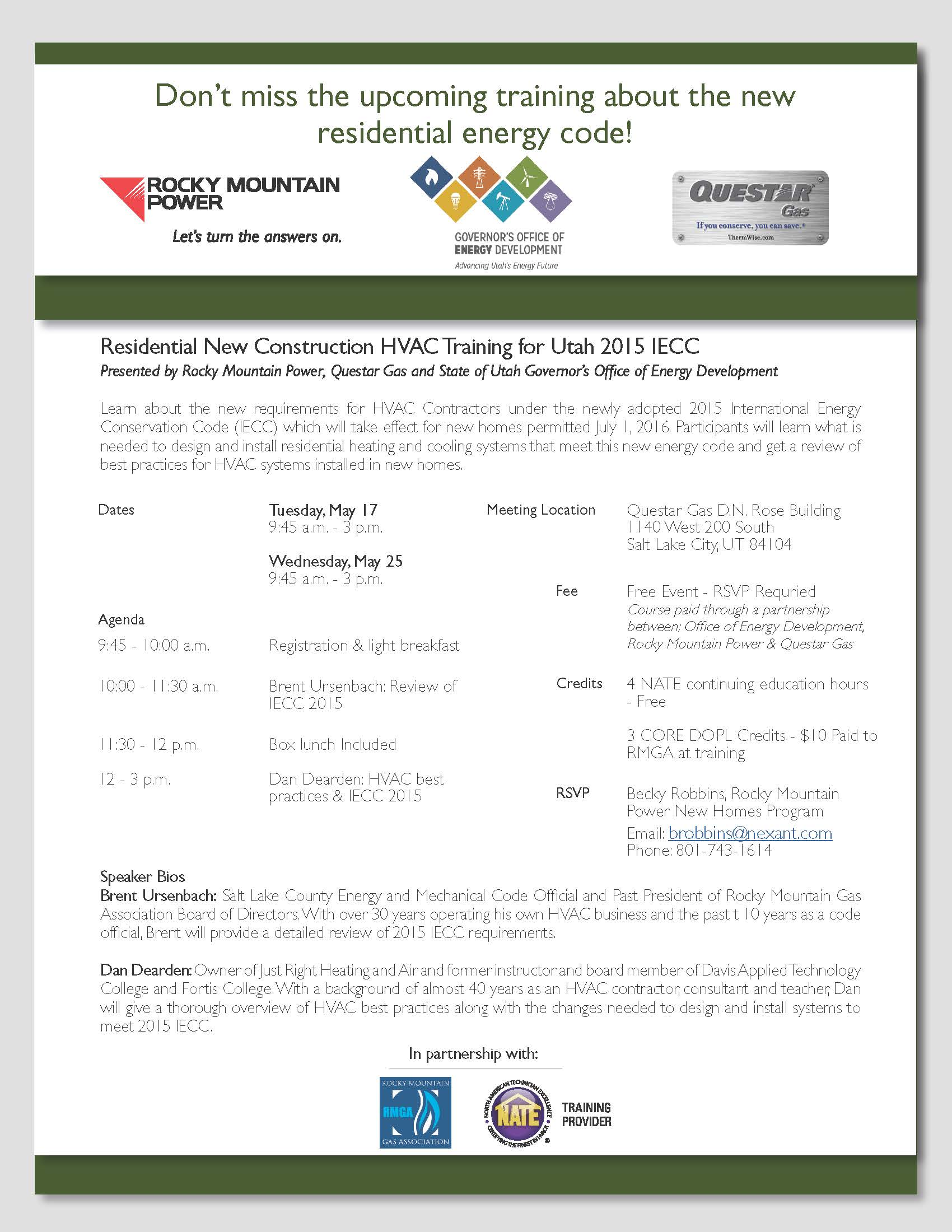 HVAC Energy Code Trainings May 17 - 25